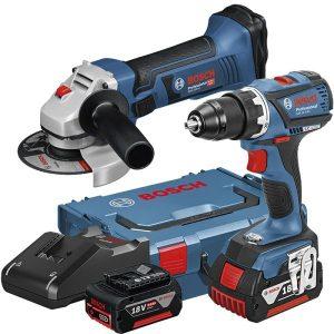 Bosch GSR 18V-EC + GWS 18-125 V-LI Työkalupaketti + Kulmahiomakone GWS 18-125 V-LI