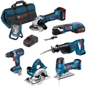 Bosch 0615990K1D Työkalupaketti sisältää laukun, 5,0 Ah:n akut ja laturin